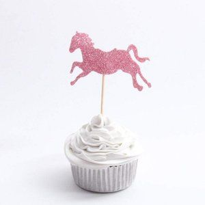 10 PC Pink Glitter Unicorn Cupcake Topper